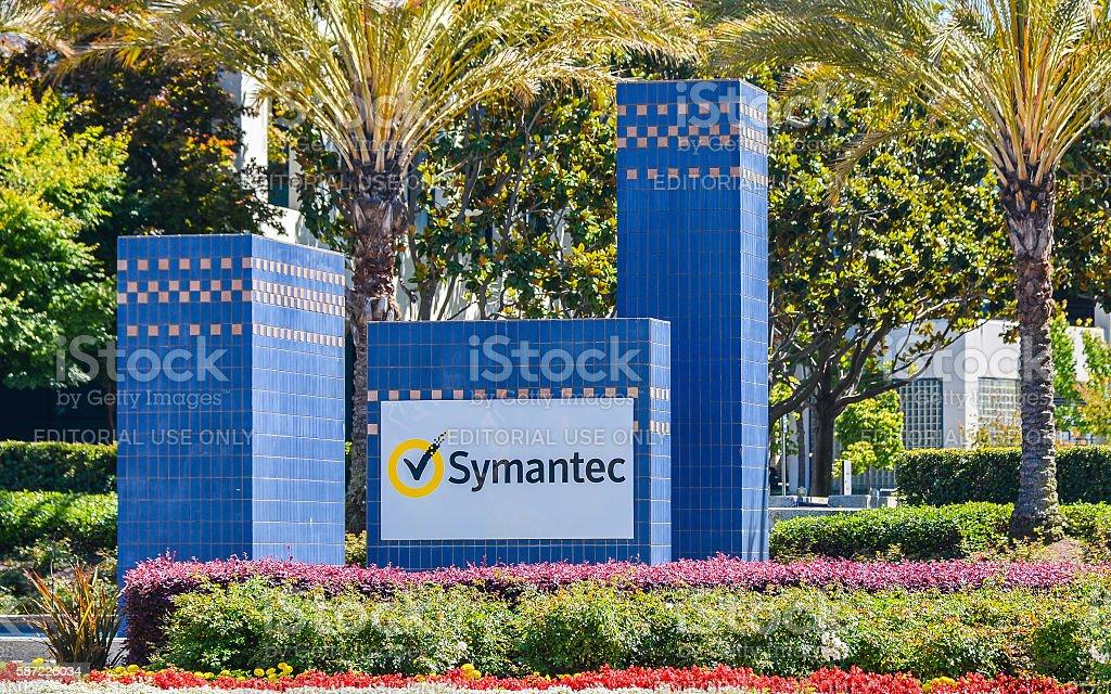 Entrance, Symantec Corp. Campus, Mountain View, CA stock photo