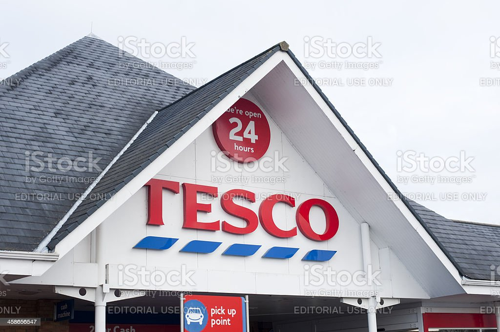 Entrance to a 24 Hour Tesco Shop stock photo