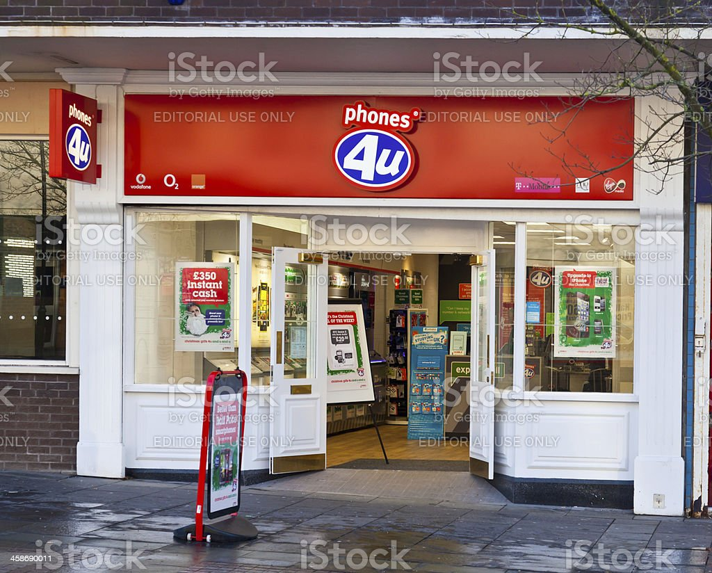 Entrance to a Phones 4U mobile phone retailer stock photo