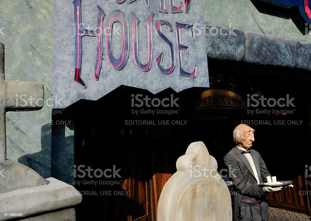 Entrance To A Spooky Tourist Attraction stock photo