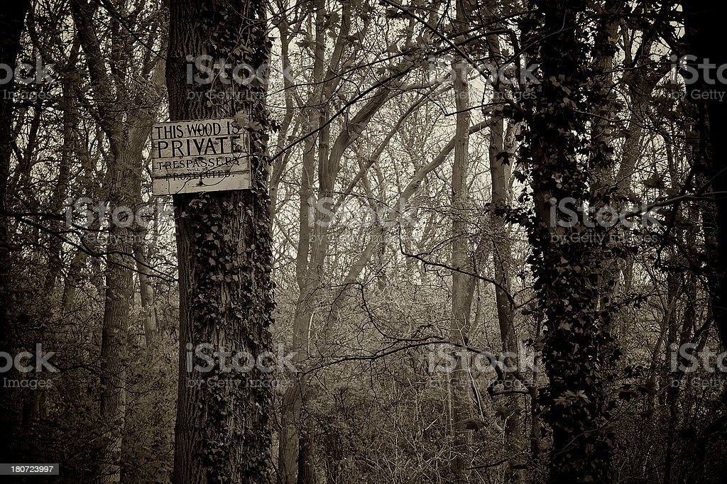 Entrance to a spooky wood, Private Keep Out (Sepia toned) stock photo