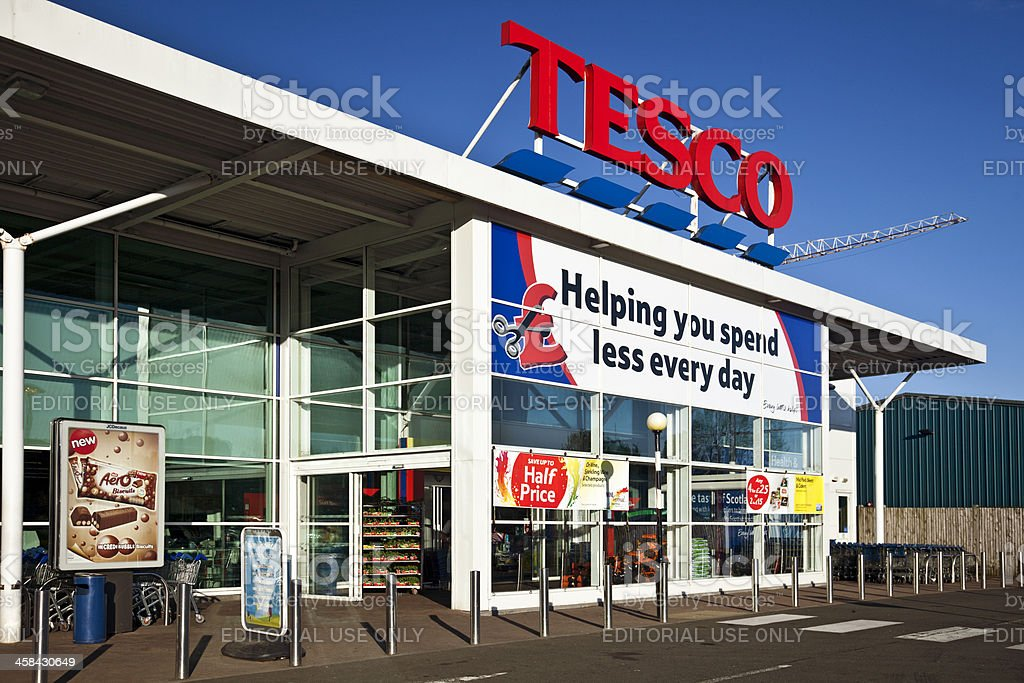 Entrance to a Tesco Superstore in Scotland. stock photo