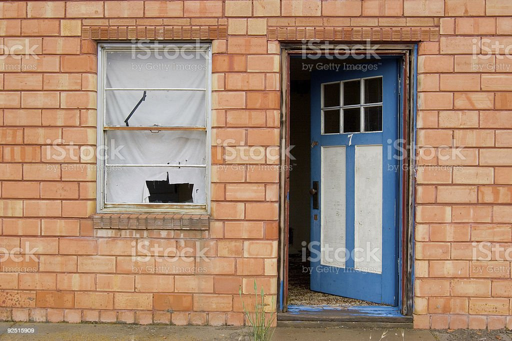 Entrance to abandoned building stock photo