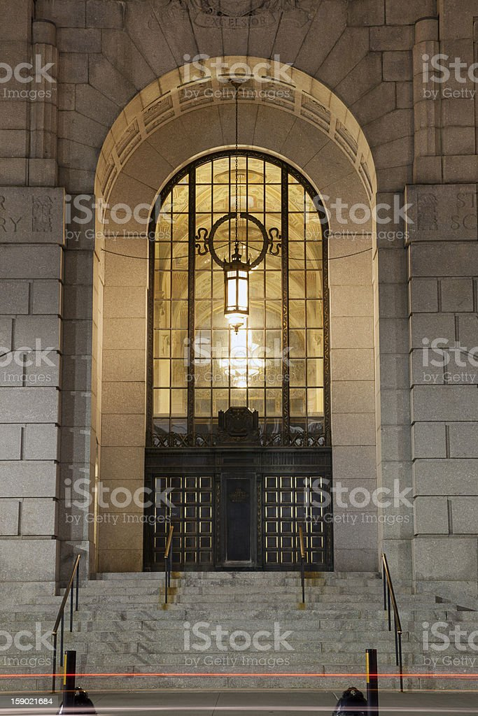 Entrance to Art Deco Building royalty-free stock photo