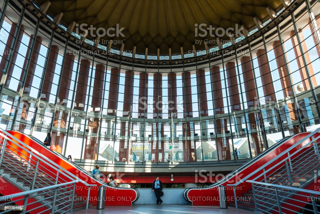 Entrance to Atocha transport hub in Madrid stock photo