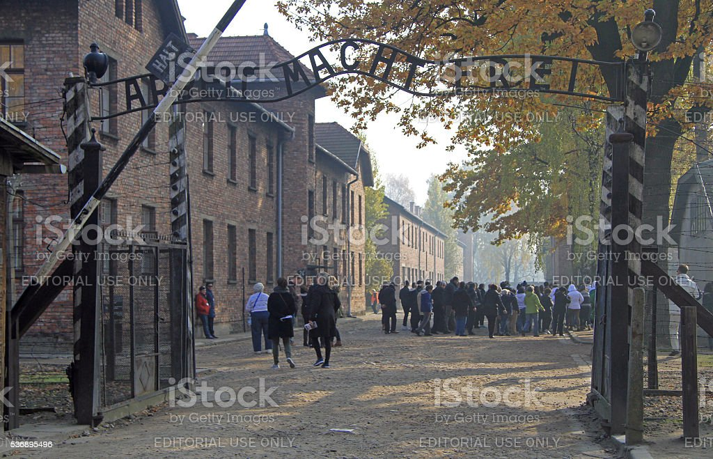 entrance to Auschwitz I concentration camp stock photo