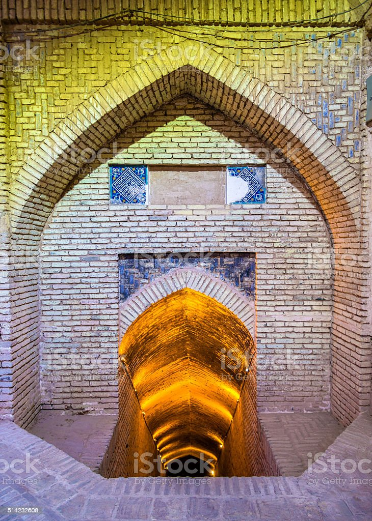 Entrance to basement of Jameh Mosque in Yazd stock photo