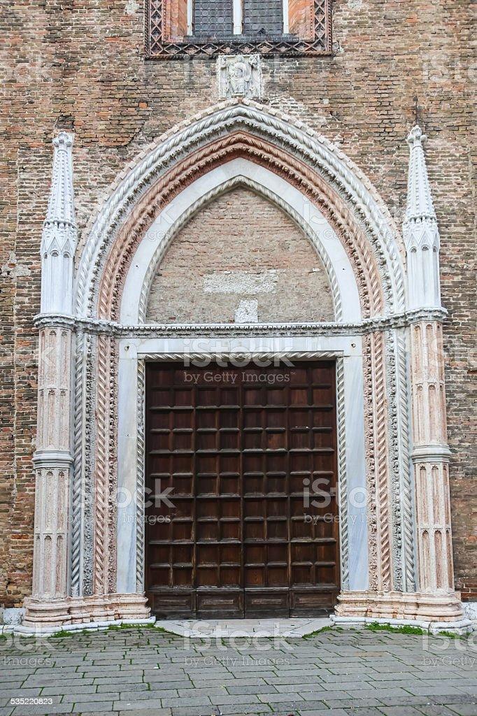 Entrance to Basilica dei Frari stock photo