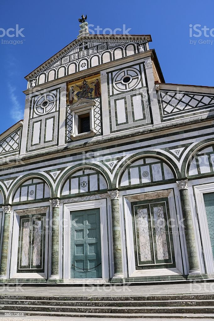 Entrance to Basilica San Miniato al Monte in Florence, Italy stock photo