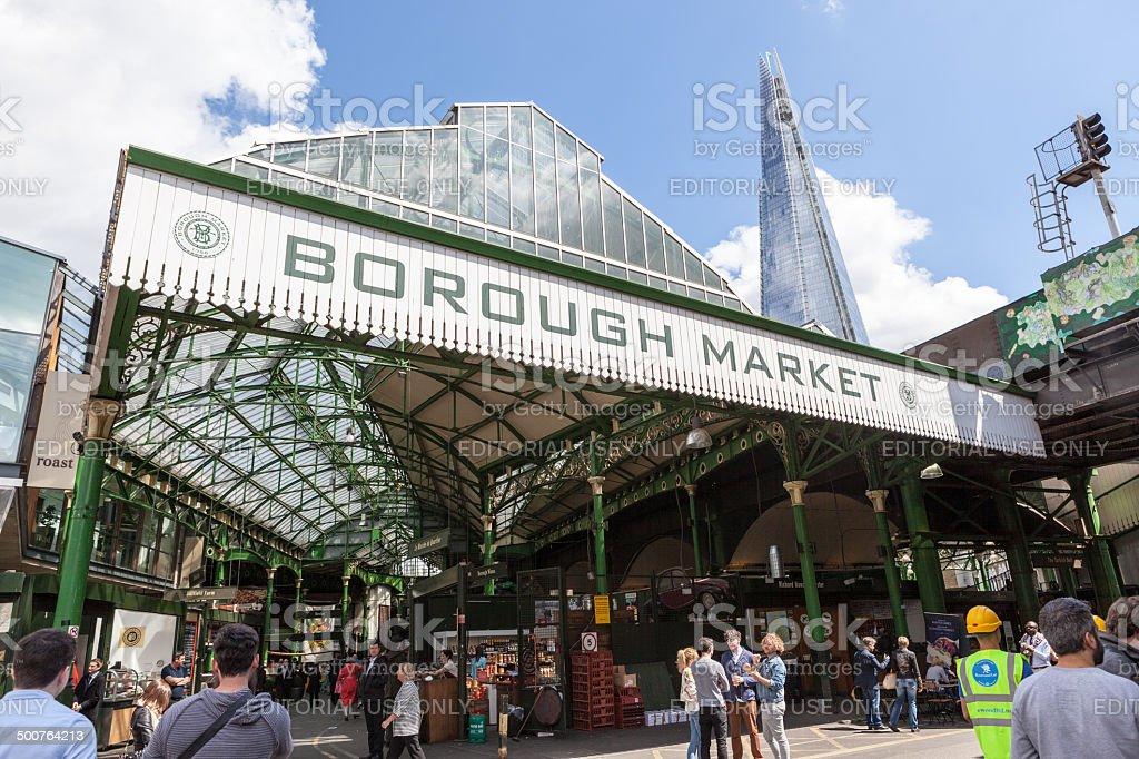 Entrance to Borough Market in London stock photo