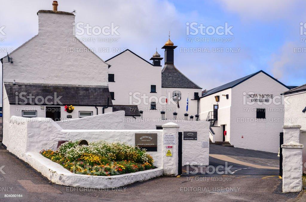 Entrance to Bowmore distillery factory, Islay, United Kingdom stock photo