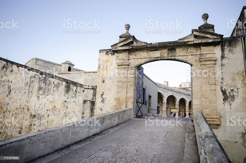 Entrance to Castillo de San Cristóbal in Puerto Rico royalty-free stock photo