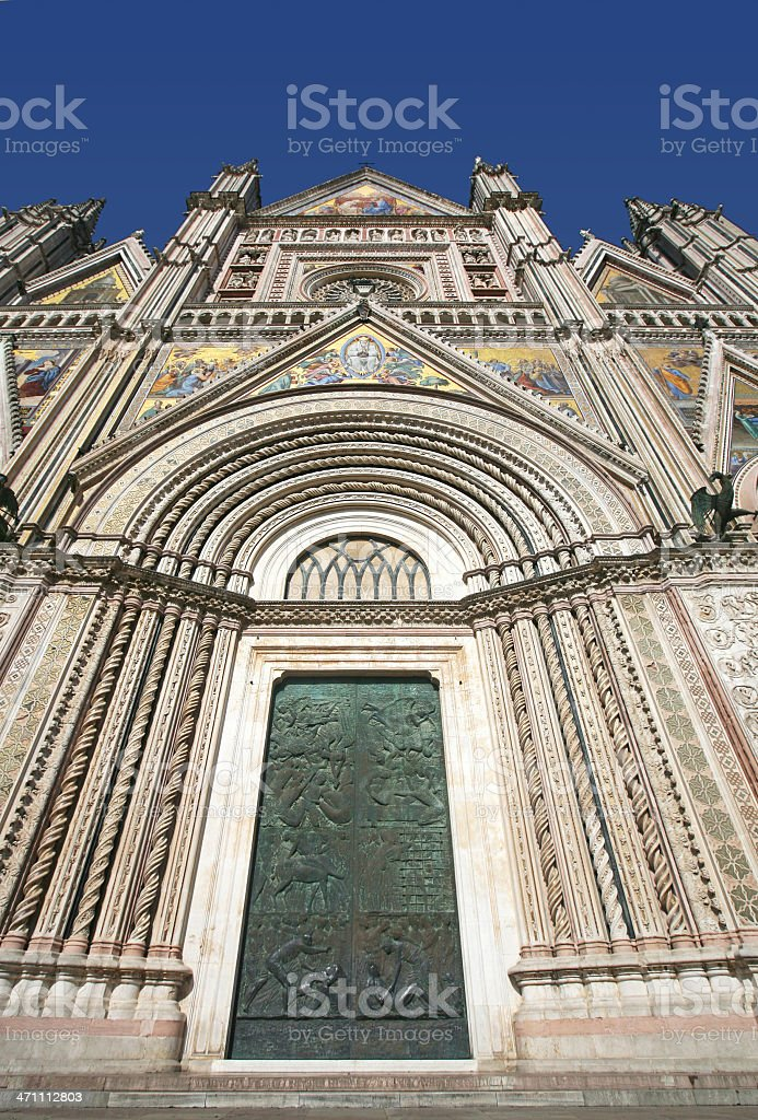 Entrance to Cathedral, Orvieto royalty-free stock photo