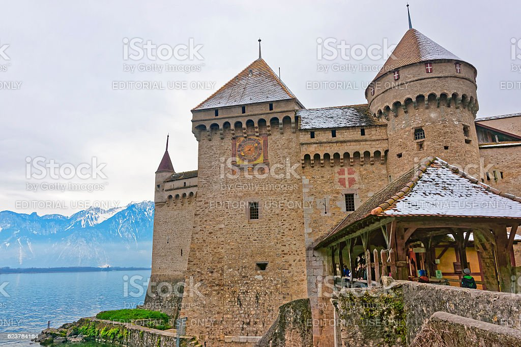 Entrance to Chillon Castle on Lake Geneva in Switzerland stock photo