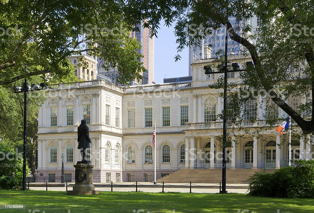 Entrance to City Hall in New York royalty-free stock photo