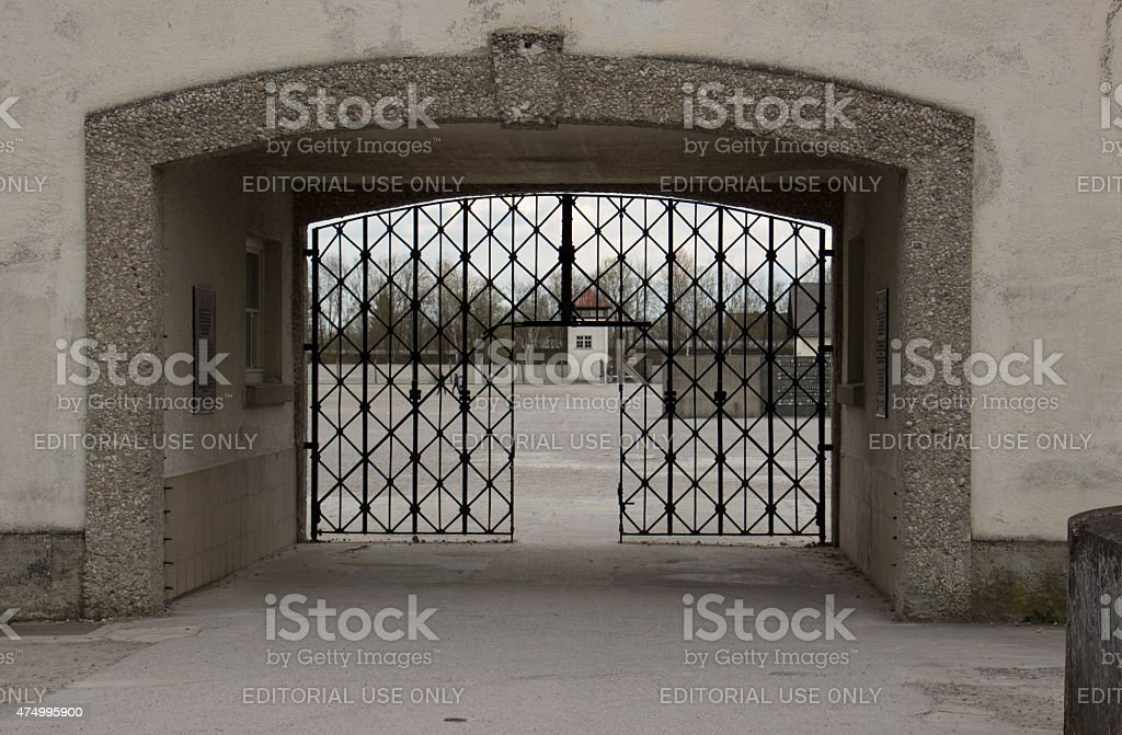 Entrance to Dachau Concentration Camp stock photo