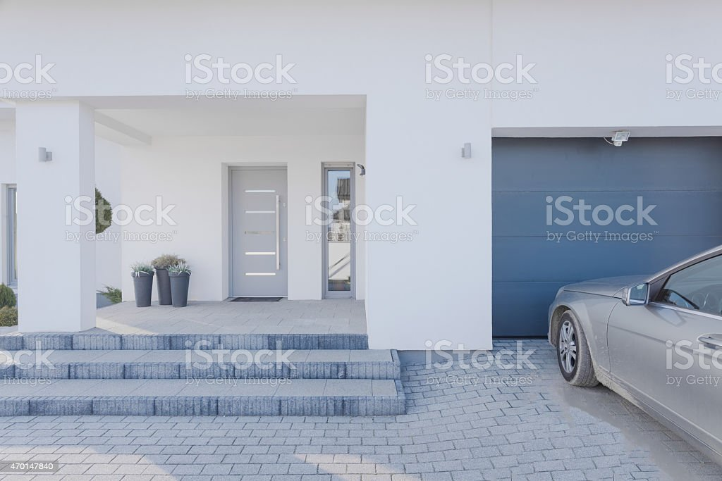 Entrance to detached house stock photo