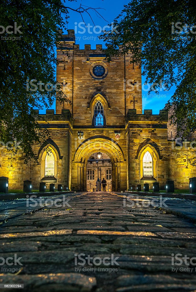 Entrance to Durham Castle stock photo