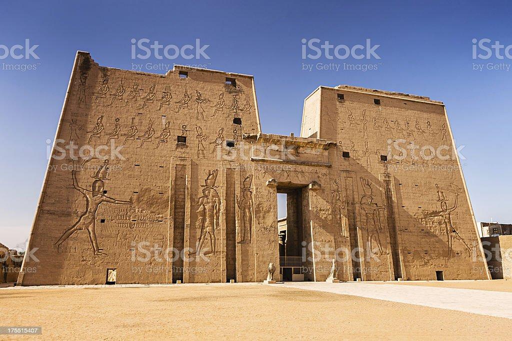 Entrance to Edfu Temple of Horus, Egypt stock photo