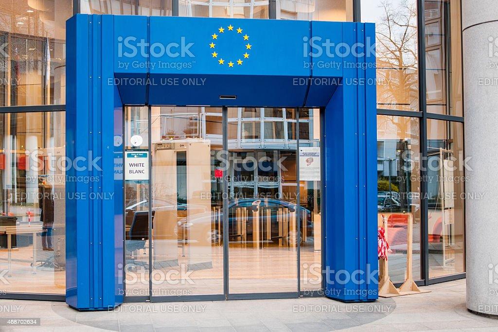 Entrance to European union stock photo