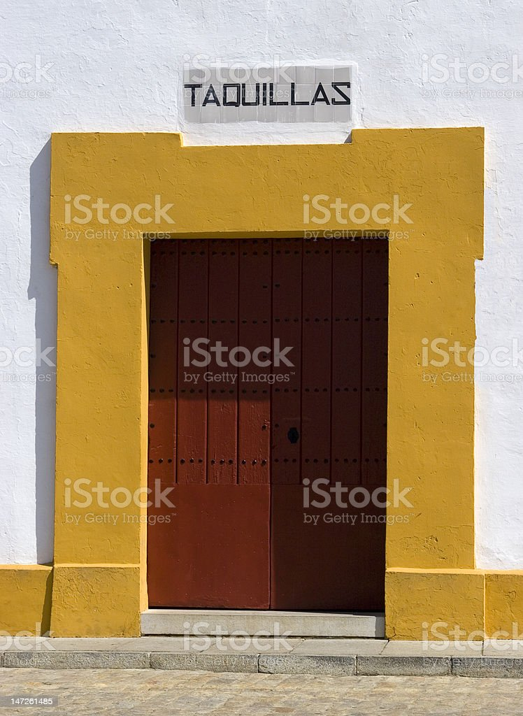 Entrance to famous bull ring in Seville, Plaza de Toros royalty-free stock photo