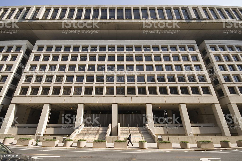 Entrance to Federal Bureau of Investigation FBI Building Washington DC stock photo