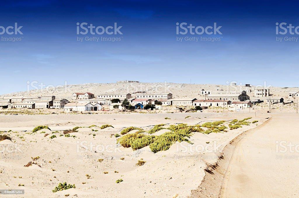 Entrance to ghost town Kolmanskop near Luderitz in Namib desert stock photo