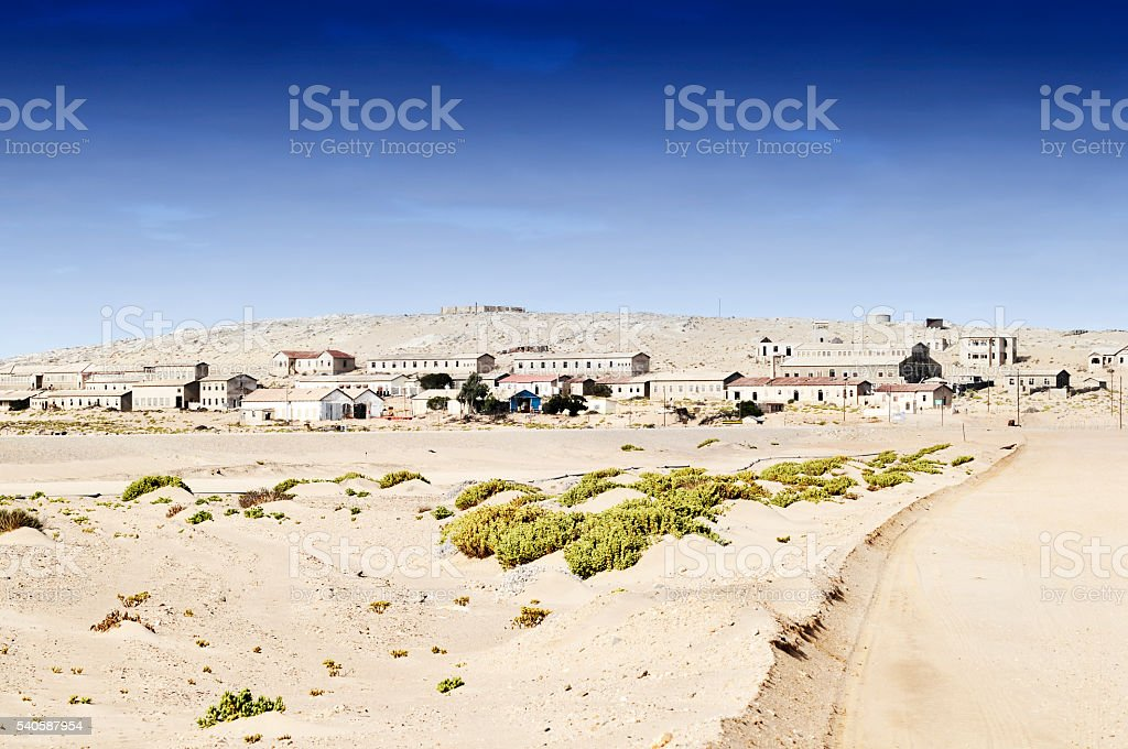 Entrance to ghost town Kolmanskop near Luderitz in Namib desert stock photo