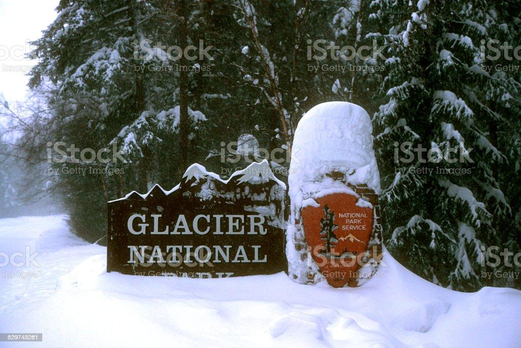Entrance to Glacier National Park stock photo