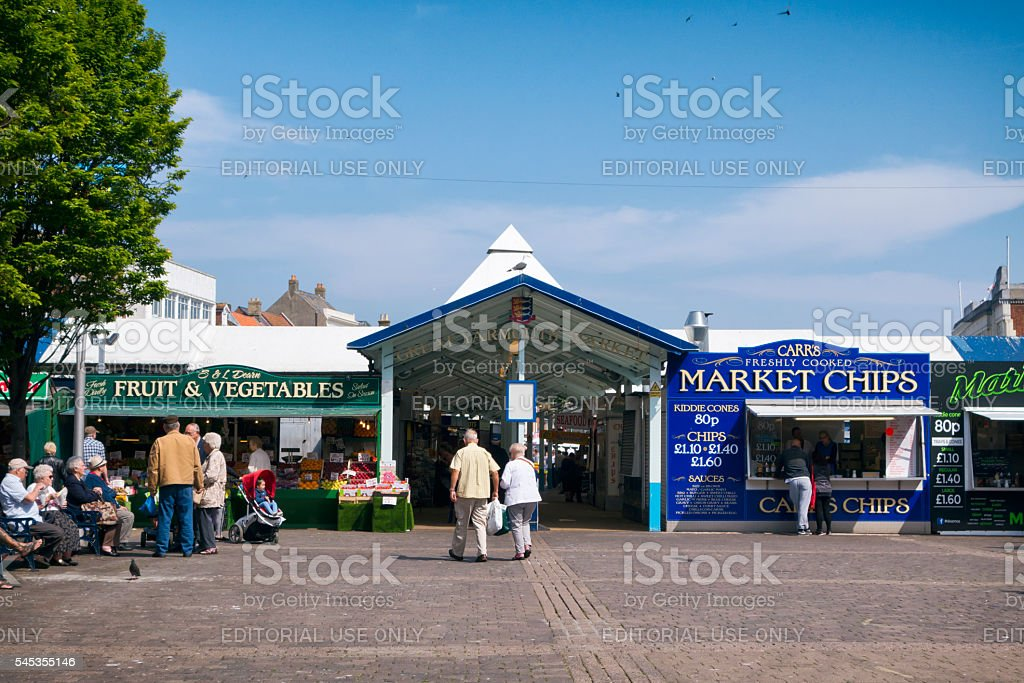 Entrance to Great Yarmouth's covered market stock photo