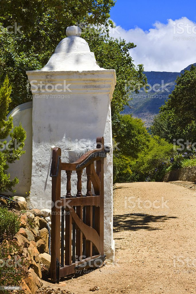 Entrance to Groot Constantia manor house stock photo