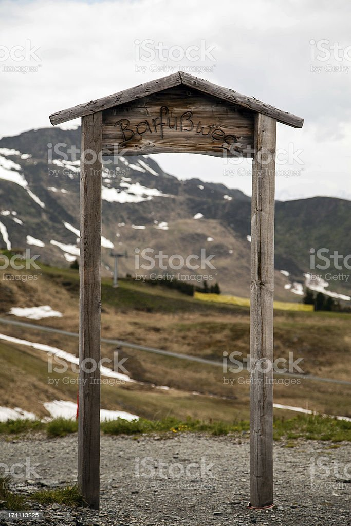 Entrance to hiking path royalty-free stock photo