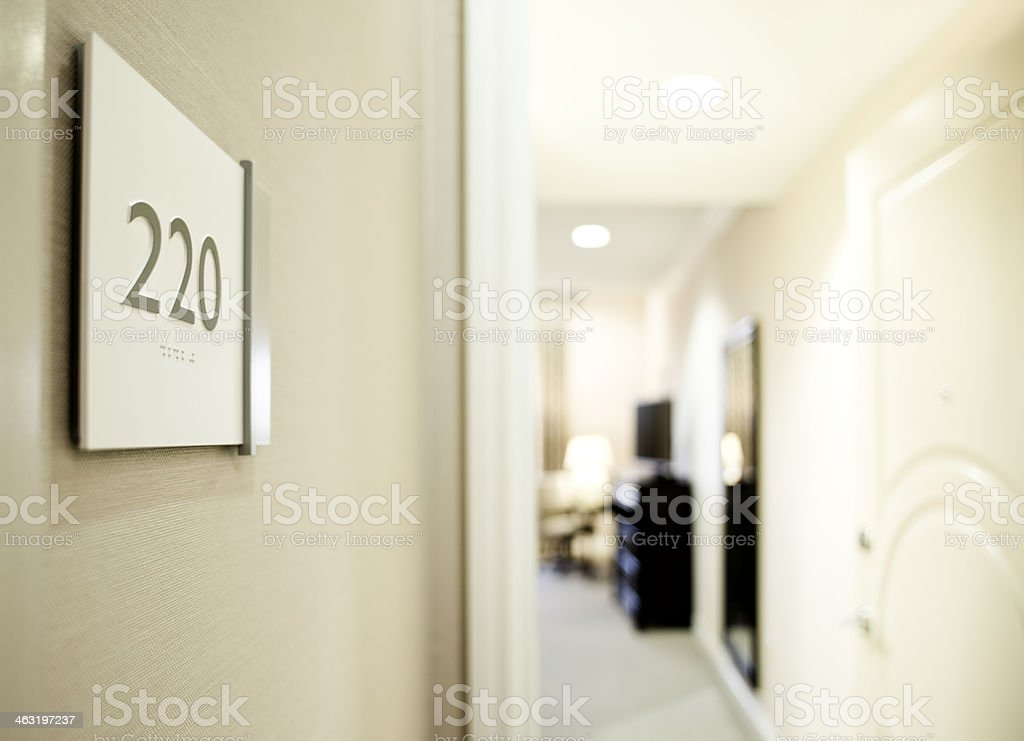 Entrance to Hotel room stock photo