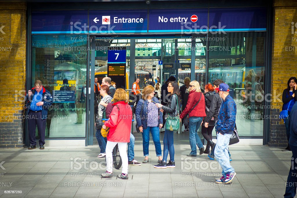 Entrance to Kings Cross underground station stock photo