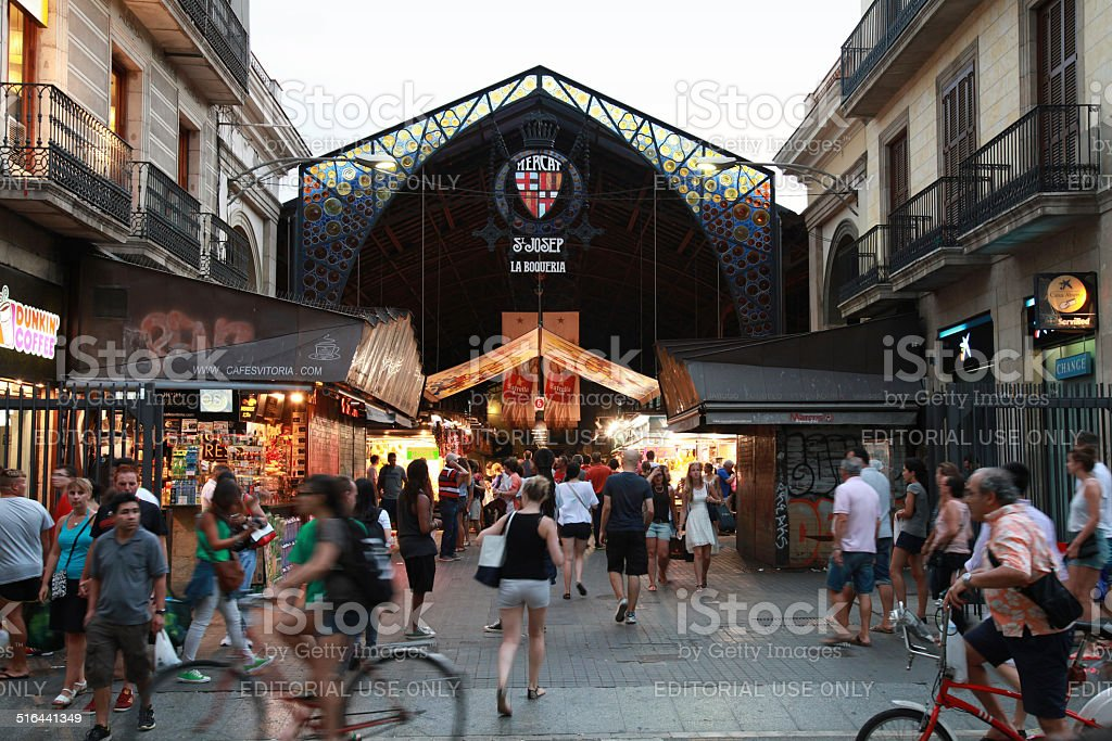 Entrance to La Boqueria, marketplace in old part of Barcelona stock photo