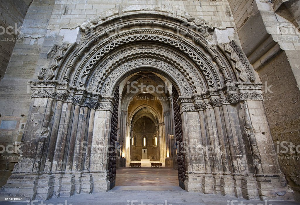 Entrance to La Seu Vella Cathedral in Lleida, Spain. royalty-free stock photo
