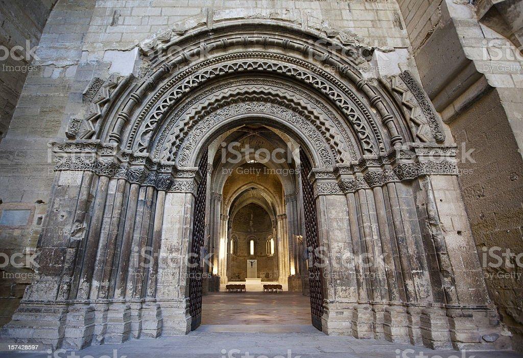 Entrance to La Seu Vella Cathedral in Lleida, Spain. stock photo