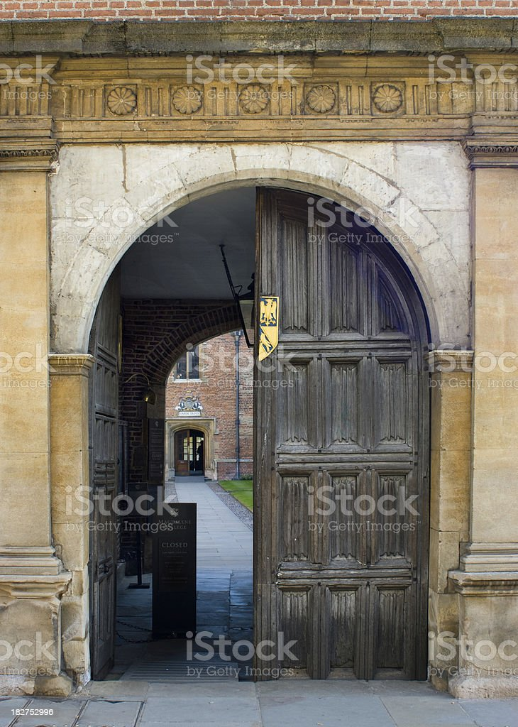 Entrance to Magdalene College Cambridge stock photo