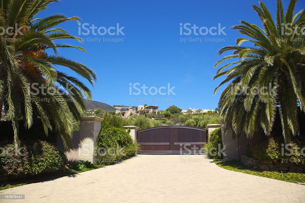 Entrance to Malibu Home stock photo