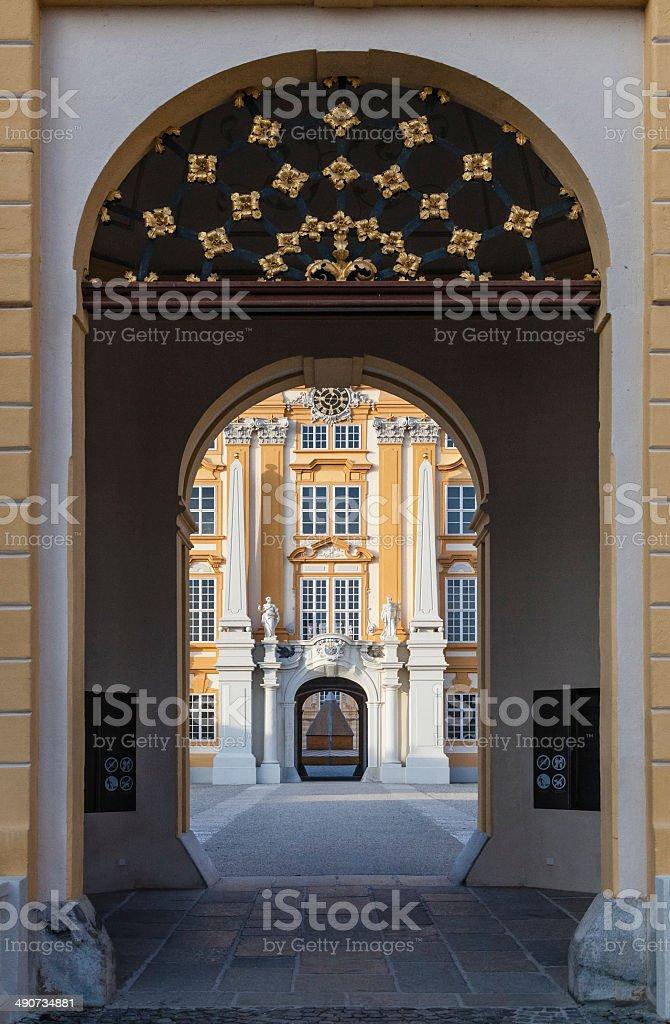 Entrance to Melk Abbey Austria stock photo
