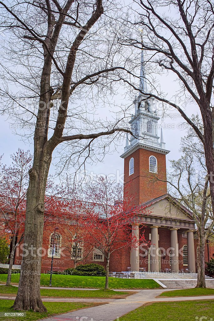 Entrance to Memorial Church in Harvard Yard stock photo