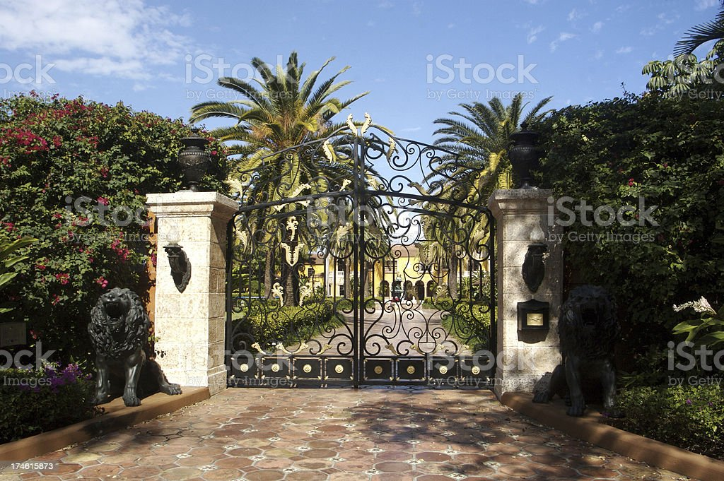 Entrance to Miami Mansion stock photo