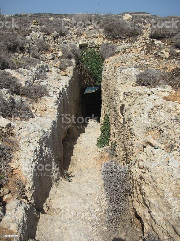 Entrance to Mixta Cave, Ramla Bay, Gozo stock photo