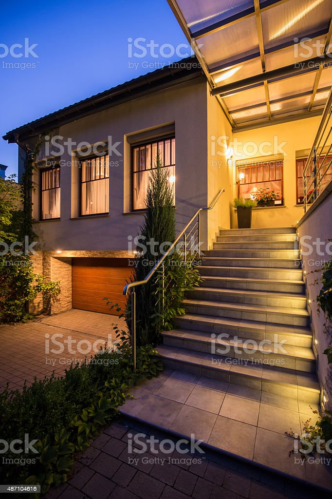 Entrance to modern detached house stock photo