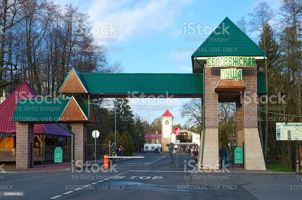 Entrance to national park reserve 'Bialowieza Forest', Belarus stock photo