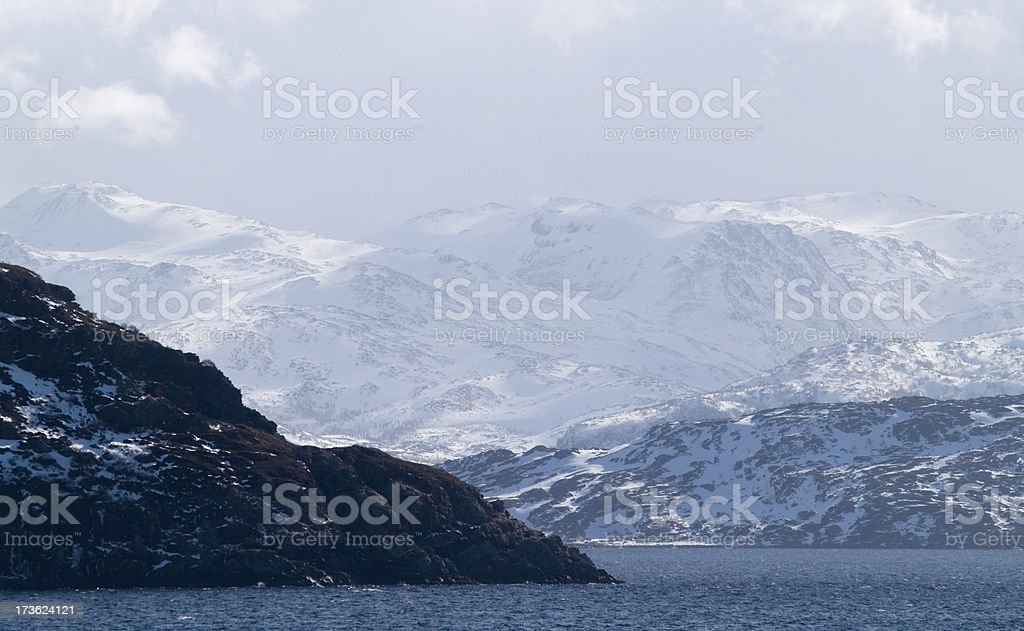 Entrance to Norwegian fjord by the Barents Sea stock photo