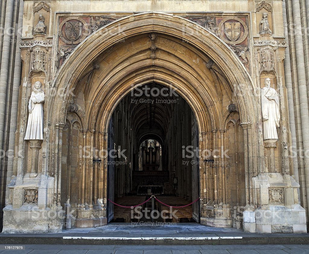 Entrance to Norwich Cathedral, looking inside stock photo