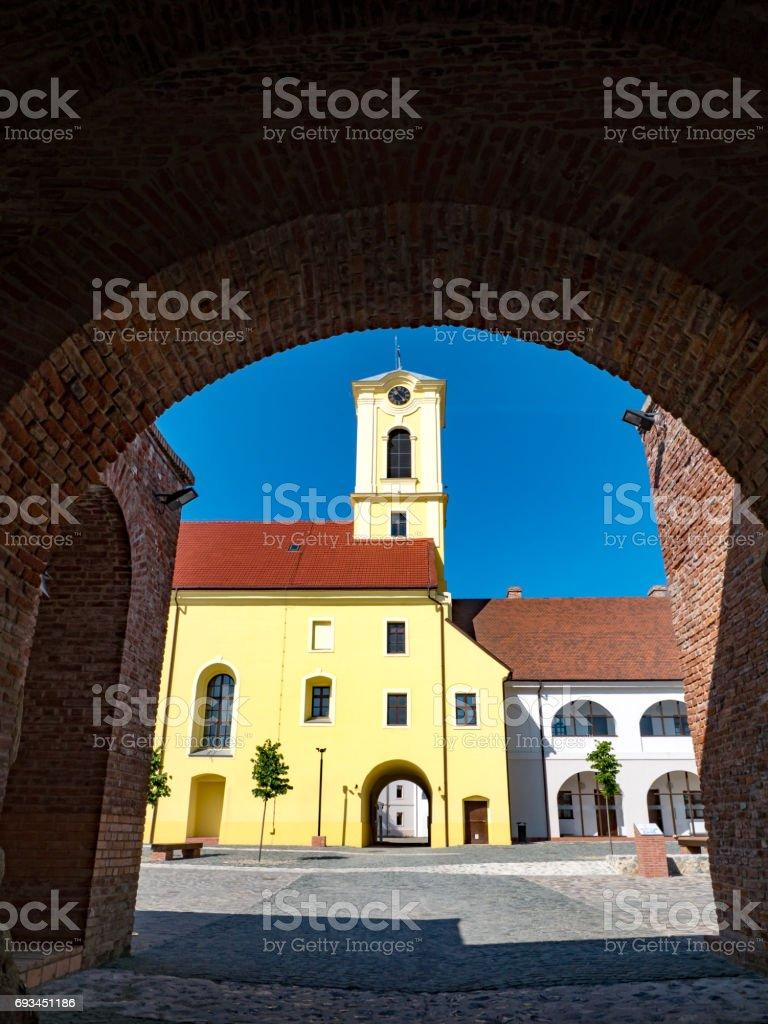 Entrance to Oradea medieval fortress stock photo
