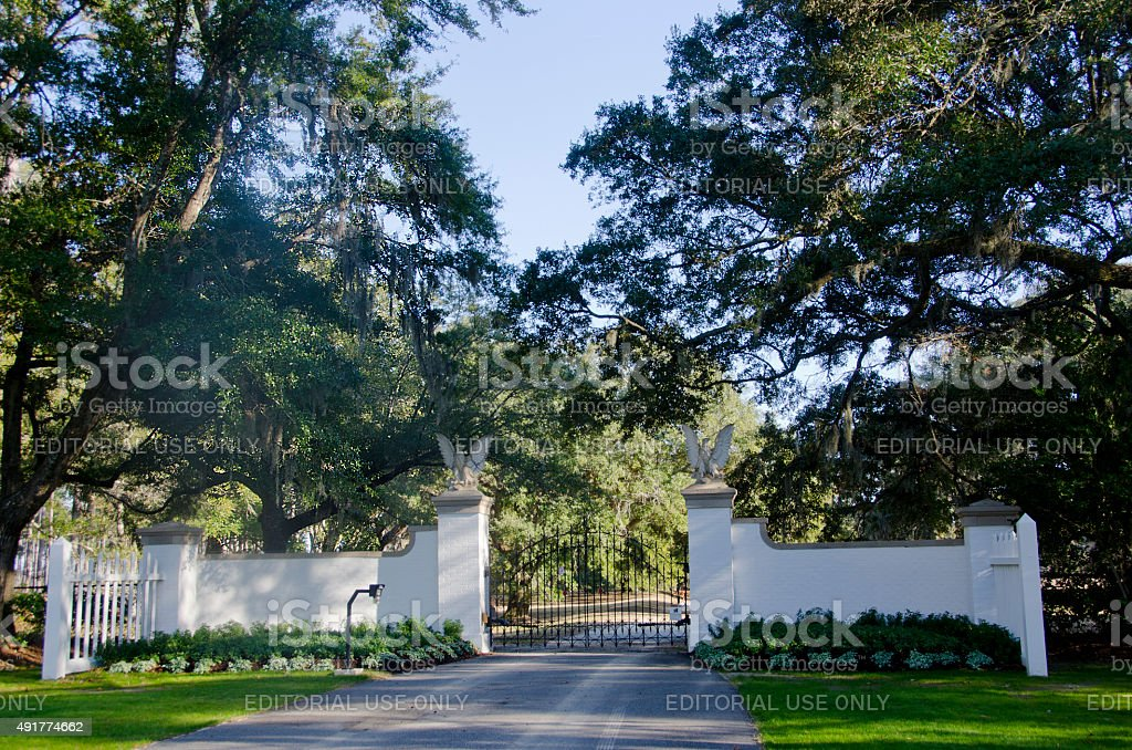 Entrance to Orton Plantation stock photo