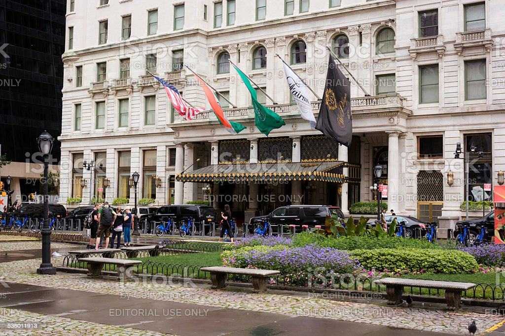 Entrance to Plaza Hotel of Manhattan in New York City stock photo